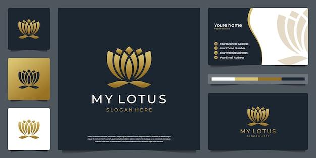 Minimalistische elegante lotusbloem. emblemen kunnen voor kuuroord, schoonheid, salon, huid en visitekaartje worden gebruikt