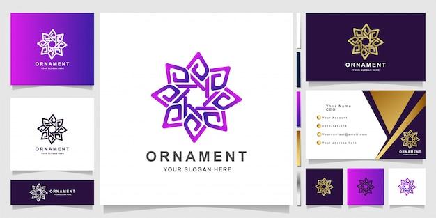 Minimalistische elegante sieraad bloem logo sjabloon met visitekaartje ontwerp
