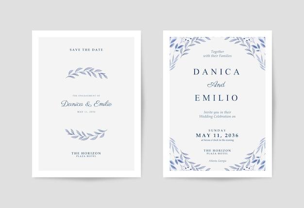 Minimalistische en eenvoudige huwelijksuitnodiging met prachtige aquarelbladeren