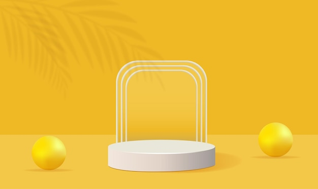 Minimalistische gele podium geometrische vorm met palm en bellenschaduw