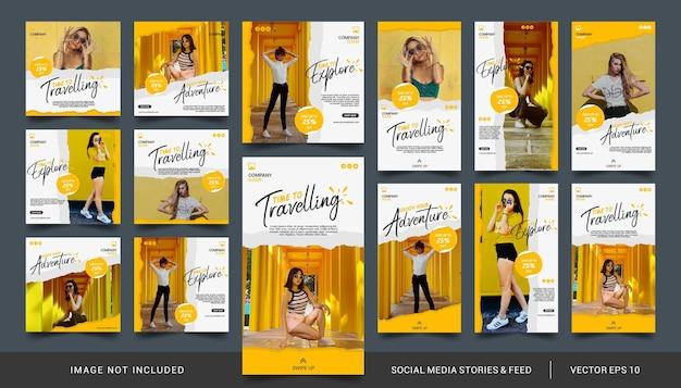 Minimalistische gele sociale media-verhalen en feedpost-sjabloon voor reizende verkoop