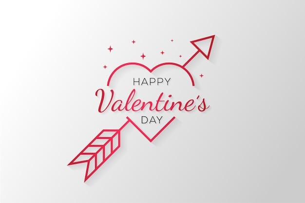 Minimalistische gelukkige valentijnsdagliefde met pijl