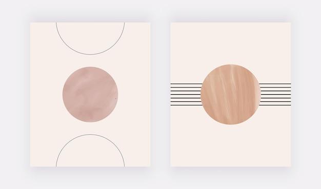 Minimalistische geometrische kunst aan de muur met nude vormen en lijnen