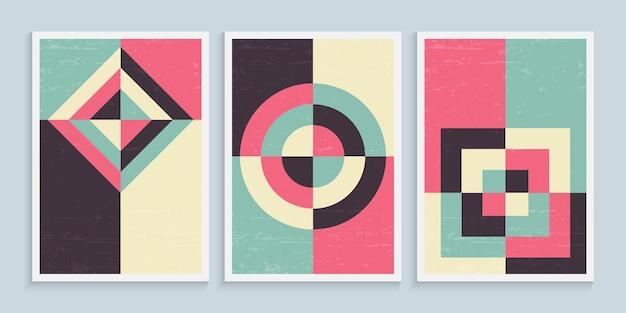 Minimalistische geometrische kunst muurposters in vintage kleuren