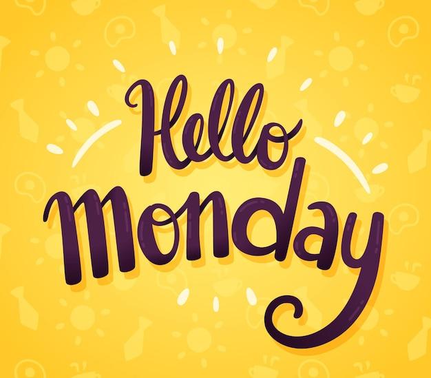 Minimalistische hallo maandag achtergrond