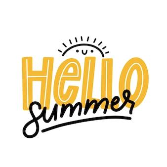 Minimalistische hallo zomer belettering