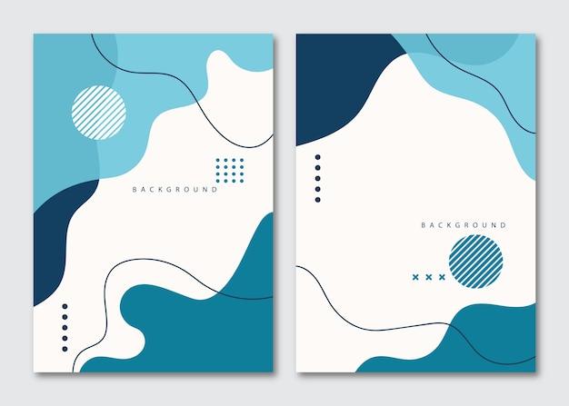 Minimalistische hand getrokken vloeiende vormen achtergrond met blauwe winterkleur