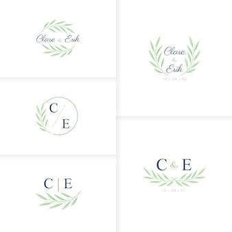Minimalistische handgetekende monogram bruiloft logo sjabloon