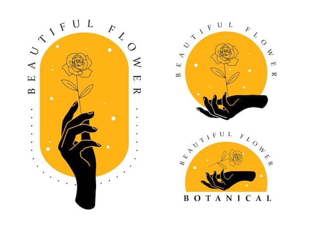 Minimalistische handlogo-collectie met bloem