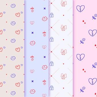 Minimalistische harten en lint buigt valentijnskaartpatroon
