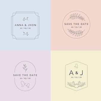Minimalistische huwelijksmonogrammen in geplaatste pastelkleuren