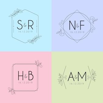 Minimalistische huwelijksmonogrammen in pastelkleuren