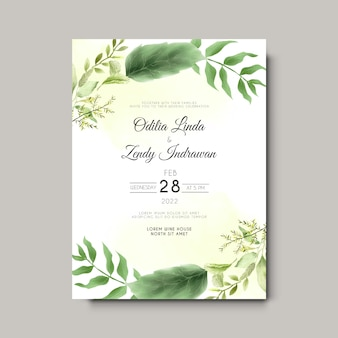 Minimalistische huwelijksuitnodiging met prachtige bloemenwaterverf