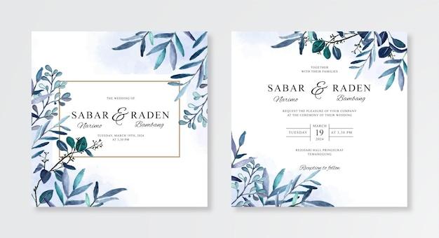 Minimalistische huwelijksuitnodiging met waterverf bloemen