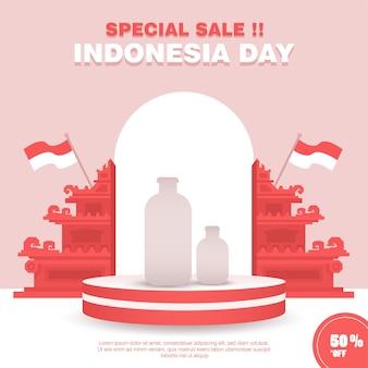 Minimalistische indonesische onafhankelijkheidsdag flash sale-bannersjabloon met traditionele gapura-decoratie