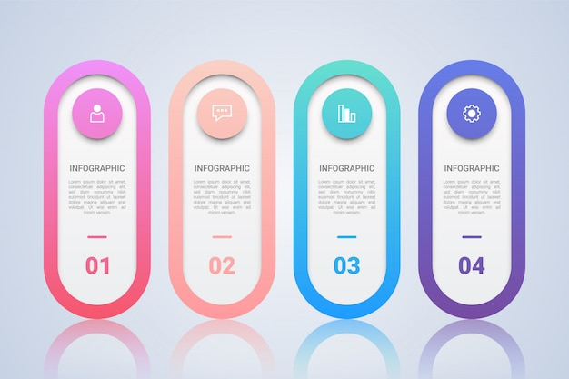 Minimalistische infographic-sjabloon voor zaken met four steps mul