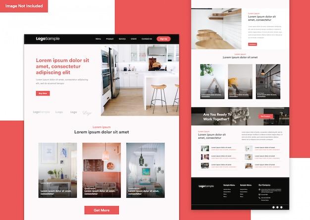 Minimalistische interieur website ontwerpsjabloon