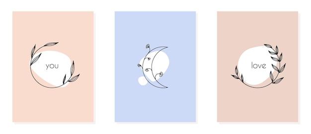 Minimalistische kaart met lineaire bloemen, frames, maan in trendy handgetekende stijl