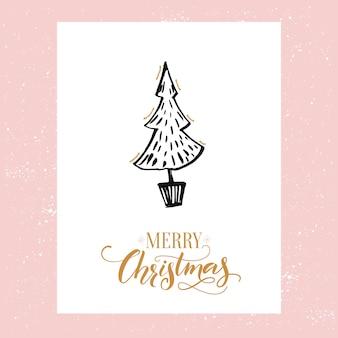 Minimalistische kerstwenskaart met handgetekende kerstboom. vectorontwerpsjabloon met kalligrafietype.