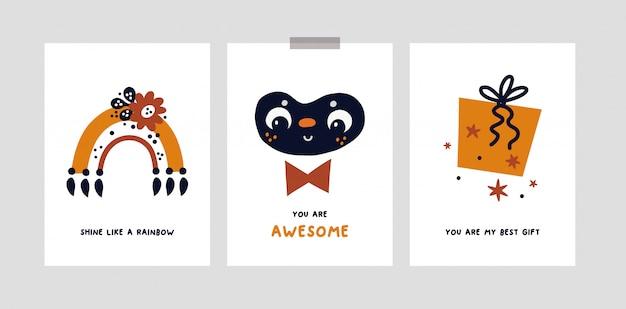 Minimalistische kinderachtige kaarten of poster voor meisje of jongen. kwekerij prints met regenboog