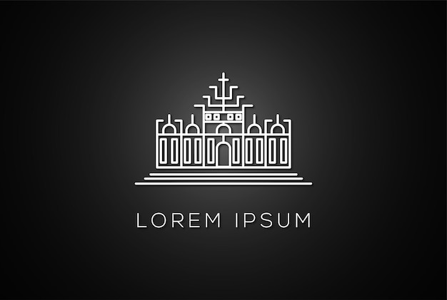 Minimalistische kingdom empire line outline logo design vector
