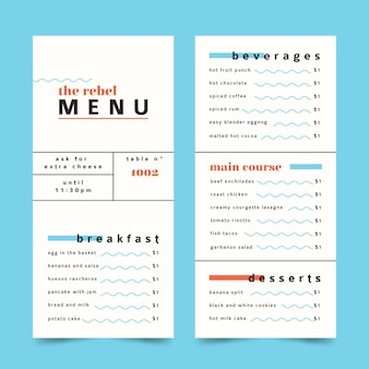 Minimalistische kleurrijke restaurant menusjabloon