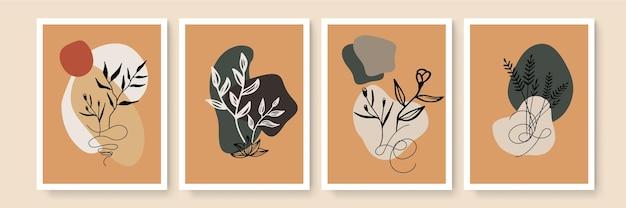 Minimalistische kunst aan de muur. abstracte landschappen voor boho esthetisch interieur. home decor muur prints