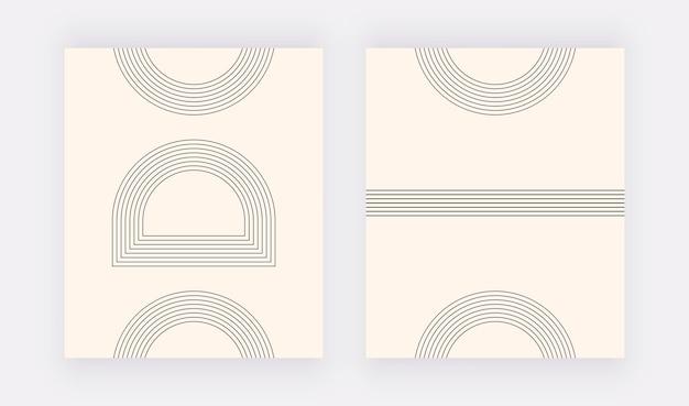 Minimalistische kunst aan de muur met zwarte geometrische lijnen