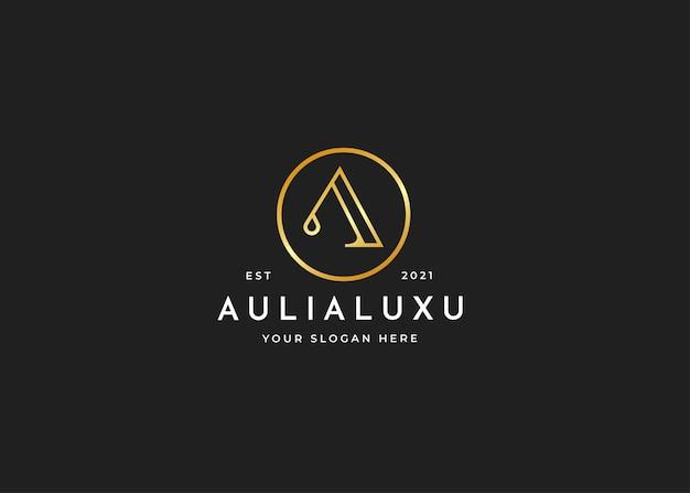 Minimalistische letter a luxe logo met cirkelvorm ontwerpsjabloon
