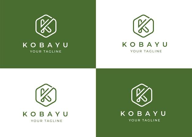 Minimalistische letter k logo ontwerpsjabloon met geometrische vorm