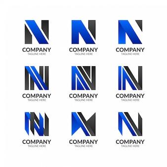 Minimalistische letter n logo-collectie