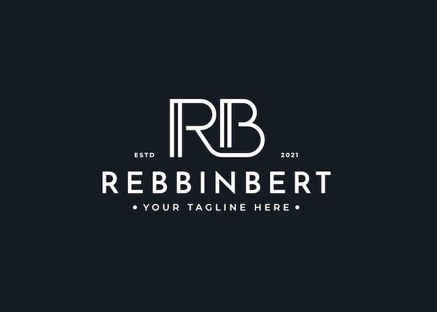 Minimalistische letter rb logo ontwerpsjabloon