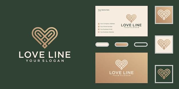 Minimalistische liefde logo lijn kunst stijl ontwerpsjabloon en visitekaartje