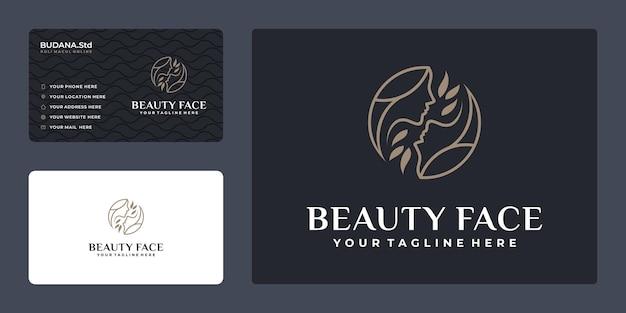 Minimalistische lijnkunst vrouw gezicht logo met visitekaartje