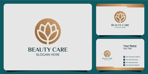 Minimalistische lijnstijl schoonheid bloem logo set met visitekaartje branding