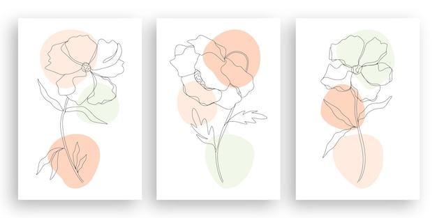 Minimalistische lijntekeningen bloem illustratie met abstracte bladeren ontwerpset