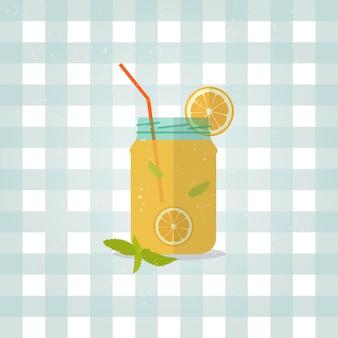 Minimalistische limonade pictogram in vlakke stijl.