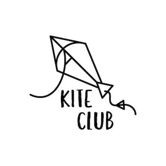Minimalistische lineaire stijl vector embleem sjabloon met vliegende vlieger voor zomeractiviteit en avontuur conceptontwerpen
