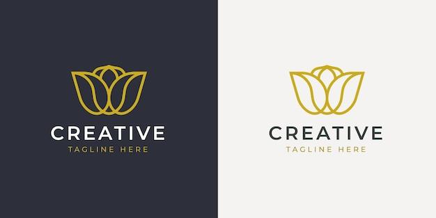 Minimalistische lotus zen line logo ontwerpsjabloon