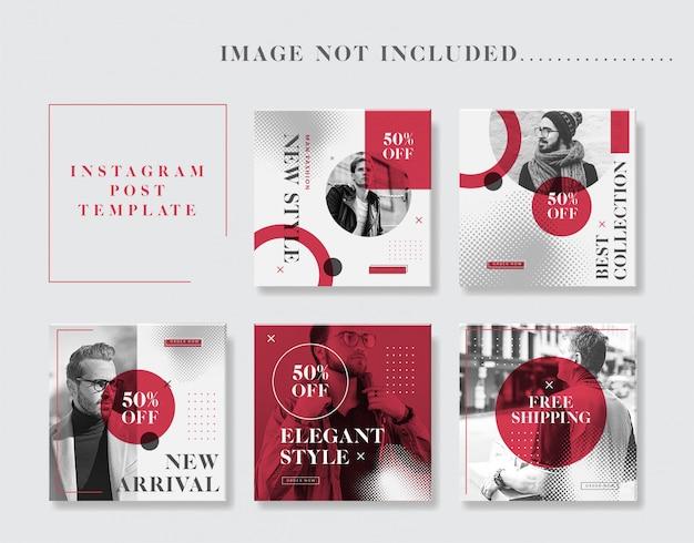 Minimalistische man fashion instagram post template collection