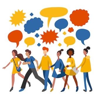 Minimalistische mensen die ideeën delen, praten, chatten. mannen en vrouwen lopen samen met tekstballonnen, plat pictogrammen. vectorillustratie gebruikt voor web, sociale netwerken, gebruikers app.