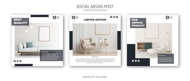 Minimalistische moderne meubels sociale media postsjabloon