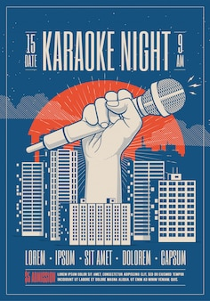 Minimalistische moderne stijl happy new year party poster flyer sjabloon uitnodiging karaoke