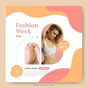 Minimalistische modeweek voor instagram-feedpostsjabloon