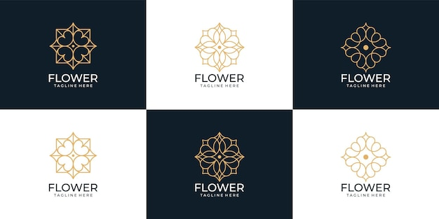Minimalistische monogram spa natuur bloem logo collectie