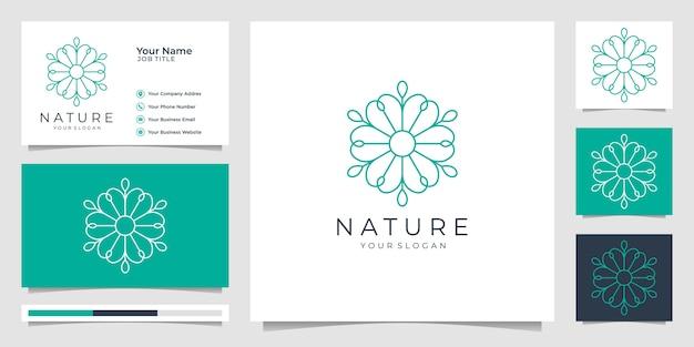 Minimalistische natuur eenvoudige en elegante bloemenmonogramsjabloon