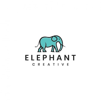 Minimalistische olifant vector logo sjabloon