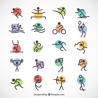 Minimalistische olympische sporten met gekleurde cirkels