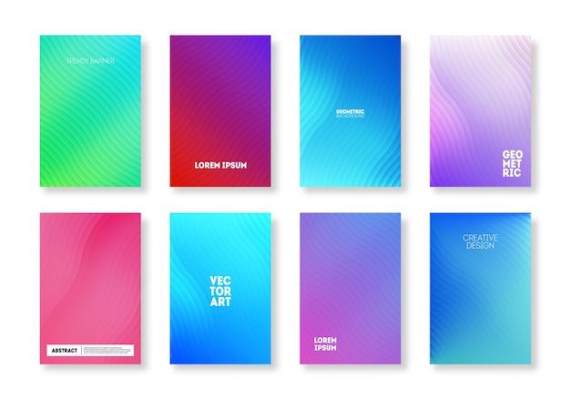 Minimalistische omslagset in trendy kleur. geometrisch verloop modern