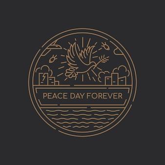 Minimalistische overzichtsdag vredesdag illustratie